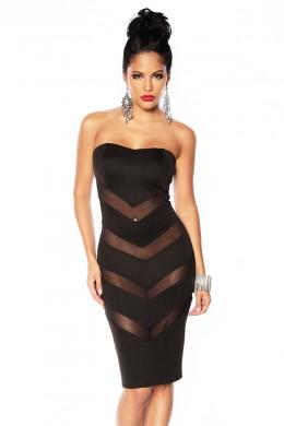 Rochie provocatoare, de culoare neagra, cu insertii din tul transparent