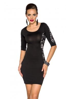 Rochie moderna, de culoare neagra, cu insertii din dantela