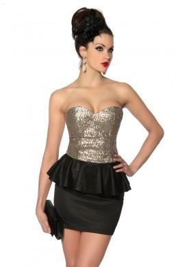 Rochie de club scurta, negru cu auriu, cu paiete si peplum