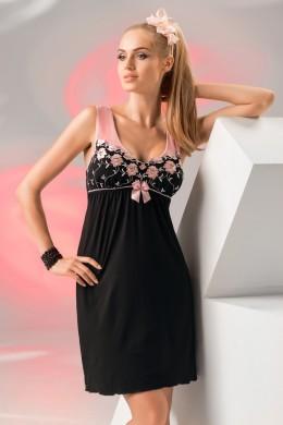 Camasa de noapte eleganta, de culoare neagra, cu broderie contrastanta